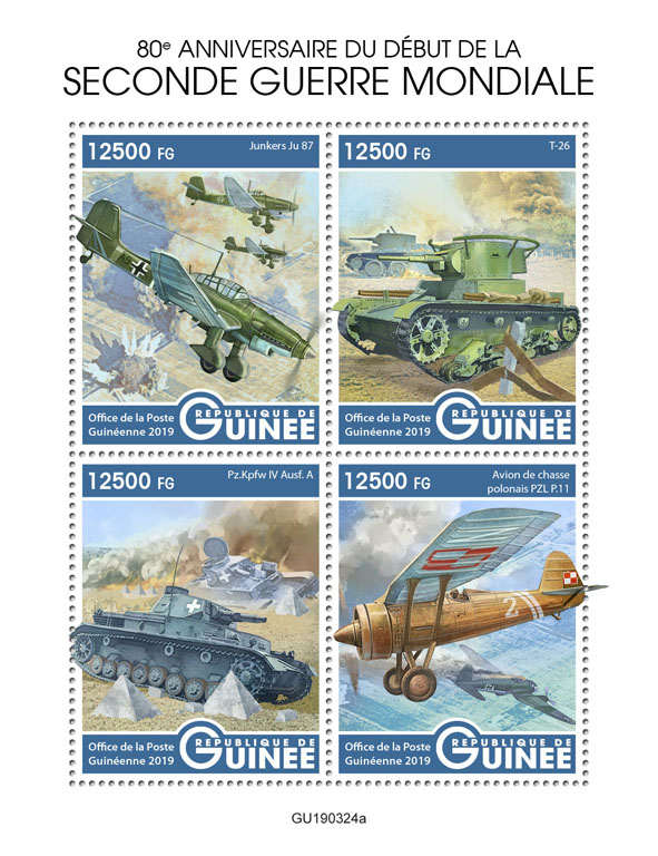 World War II - Issue of Guinée postage stamps